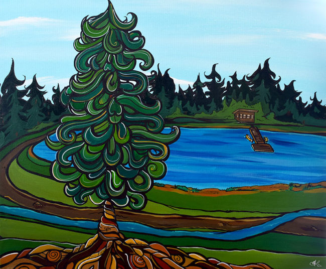 'Strongly Rooted' 20x24. Acrylic on canvas. Commissioned for a special 60th birthday gift to a mother from her kids. SOLD