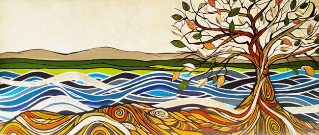 'Coastal Harmony' 3.5ft x 8ft. acrylic and metal (Metal by Renato Horvath) Commissioned for the Wave Dentistry Office.