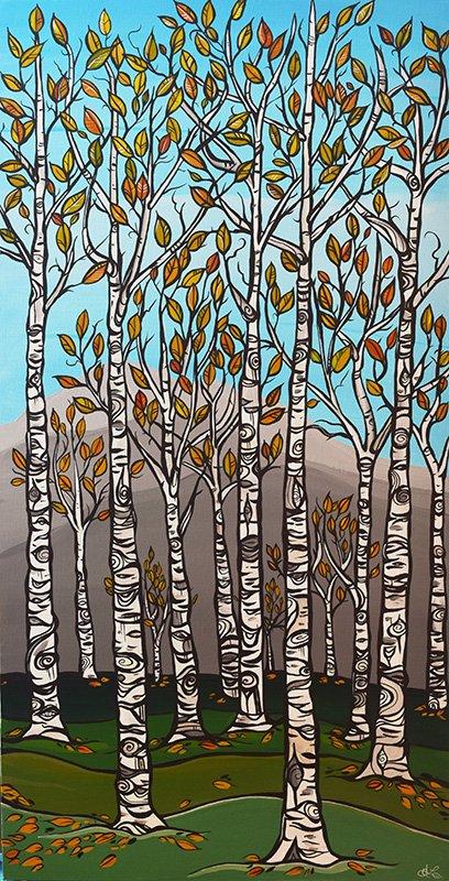 'Betula Grove' 18x36. Acrylic on canvas. SOLD