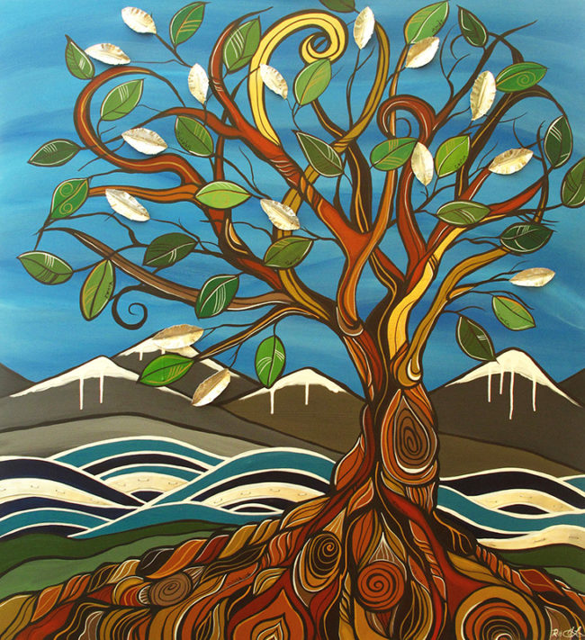 'Blended Roots' 38x42 Acrylic & metal by April Lacheur & Renato Horvath. SOLD