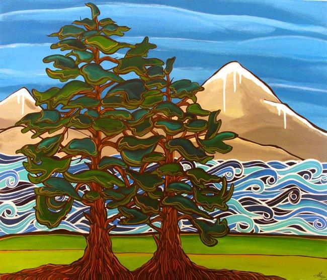 'Cedar Coast' 30x36. Acrylic on canvas. SOLD