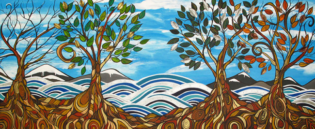 'Coastal Seasons' 8ft x 3.5ft commissioned for Wave Dental in White Rock. SOLD. Commission