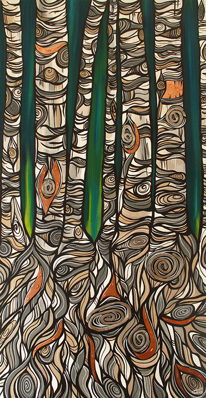 'Copper Grove' 18x36. Painting by April Lacheur, metal work by Renato Horvath. SOLD.