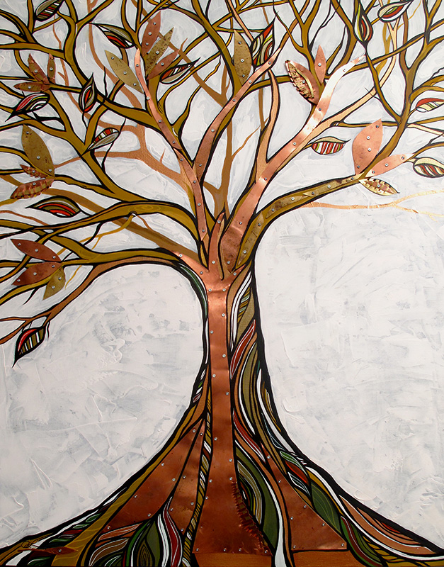'Element Tree' 30x40. acrylic, copper and brass. SOLD