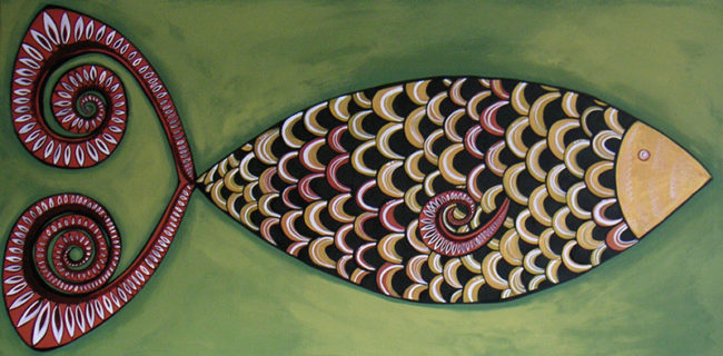'Fishy' 18x36 on canvas SOLD
