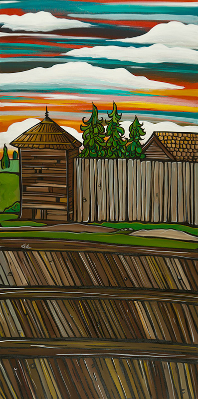 'Fort Langley Fort' 18x36 acrylic on canvas. $725. My Fort Langley series of paintings are planned to become street post banners on Glover Rd in 2015. The original painting is for sale. Also find art cards in my online store.