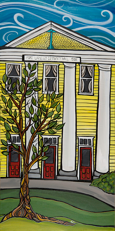 'Fort Langley Hall' 18x36 acrylic on canvas. $725. My Fort Langley series of paintings are planned to become street post banners on Glover Rd in 2015. The original painting is for sale. Also find art cards in my online store.