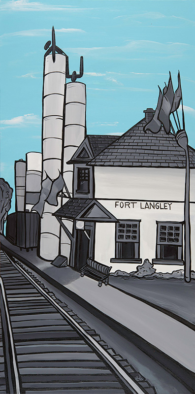 'Fort Langley Station' 18x36 acrylic on canvas. $725. My Fort Langley series of paintings are planned to become street post banners on Glover Rd in 2015. The original painting is for sale. Also find art cards in my online store.