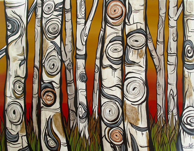 'Watchful Woods' 22x28 Acrylic on canvas. 2 inch thick edges also painted. Copper and silver wire. By April Lacheur & Renato Horvath. SOLD