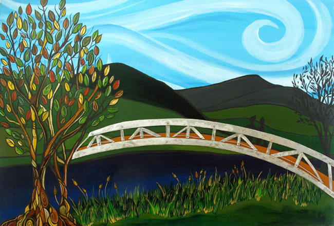 'Will you...' 24x36. Acrylic & metal (bridge) on wood. Created for a couple to celebrate their 1st wedding anniversary. They got engaged on this bridge! SOLD. Commission