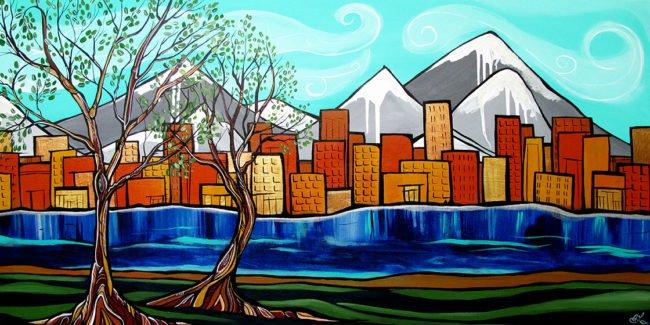 'Urban Views' 24x48. Acrylic on canvas. SOLD