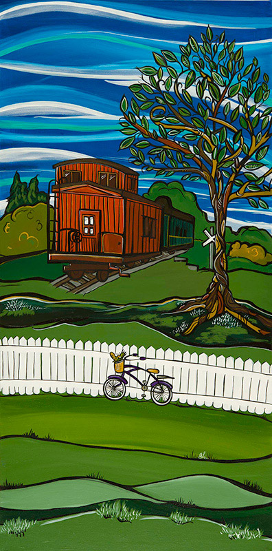 Fort Langley Train 18x36 acrylic on canvas. My Fort Langley series of paintings are planned to become street post banners on Glover Rd in 2015. The original painting is for sale. Also find art cards in my online store.