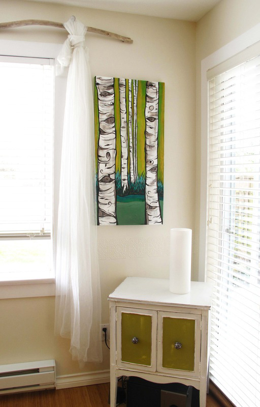 'Beyond the Birch' up in my home for short time.. I do love how it goes with my little cabinet!