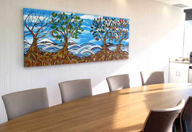 'Coastal Seasons' commissioned 36x96 original acrylic and metal in a dental office conference room by April Lacheur.