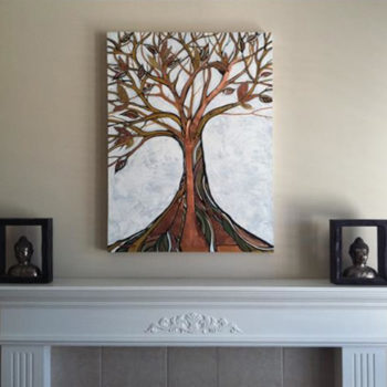 'Element Tree' Copper/acrylic looking strong over this fire place! love it!