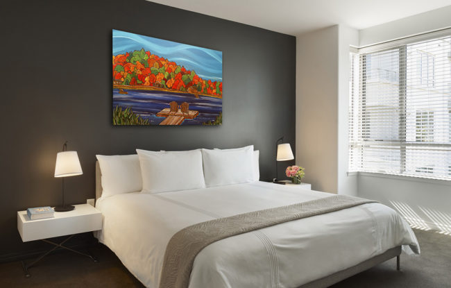 'Lakeside Attraction' 30x40 original acrylic painting over a hotel room bed