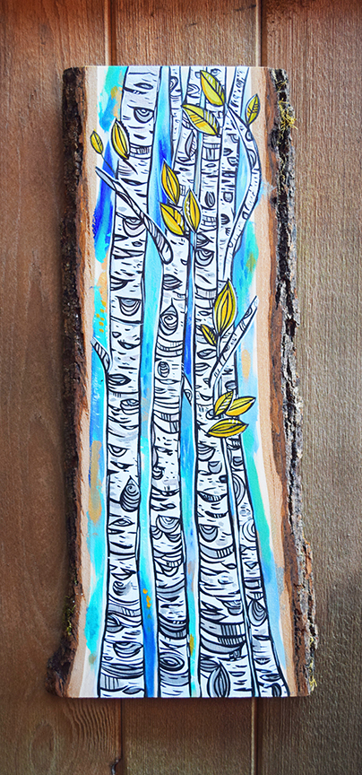 Birch Blues 2. 8x23 acrylic on live edge wood. SOLD