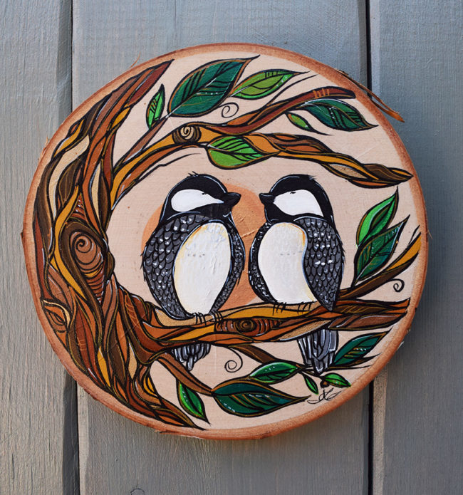 Chickadee Chat. 8x8 inch on live edge birch wood by April Lacheur. sold