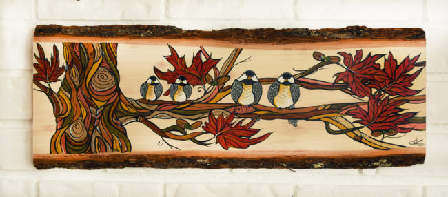 Chickadee Flock. 8x23 inch live edge wood by April Lacheur. Sold
