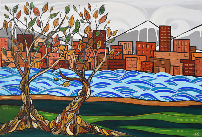 'City Views' by April Lacheur 24x36 acrylic on canvas $1050