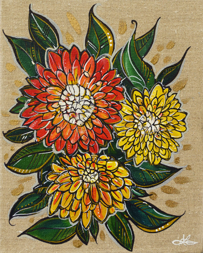 Dahlia Burst. 8x10. Acrylic on Linen by April Lacheur. $225
