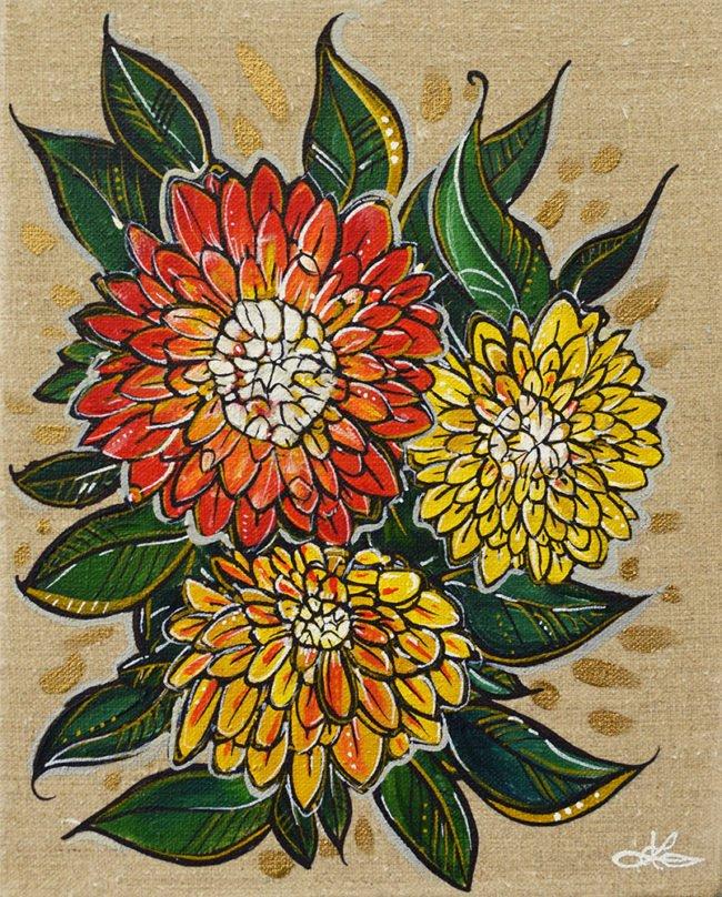 Dahlia Burst. 8x10. Acrylic on Linen by April Lacheur. $225
