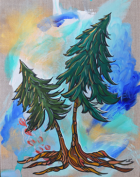 Playful Evergreens. 11x14 acrylic on Linen. $265
