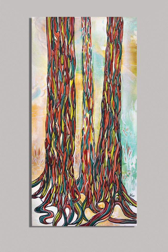 Rainbow Eucalyptus 15x30 acrylic on canvas. Available. Sold