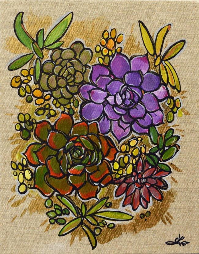 'Thriving Succulents 2'. 8x10. Acyrlic on linen canvas by April Lacheur. $225