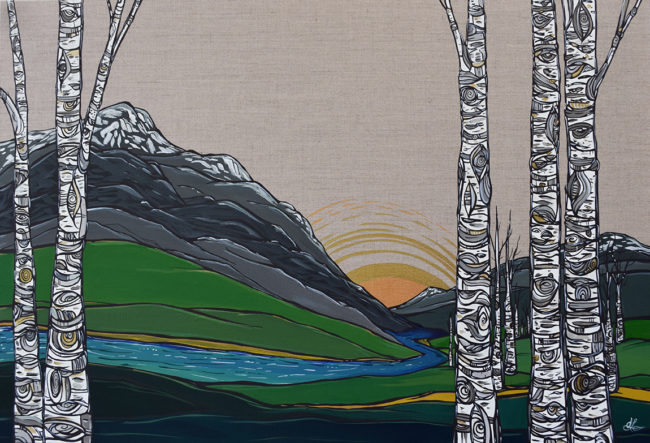 Valley Gaze. 24x36 acrylic on linen by April Lacheur. Sold.