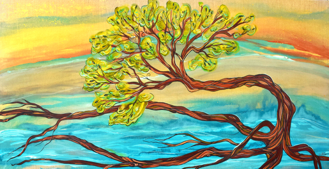 'Dancing Roots' 24x48 acrylic on linen. $1450. by April Lacheur. Available.