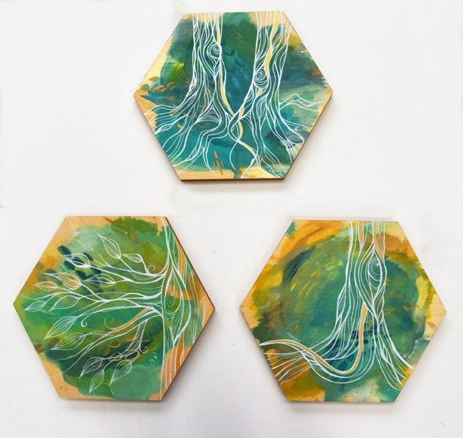 'Transpar'Transparent Energy' series. 12x12' SOLD on wood by April Lacheur.ent Energy' series. Each wood hexagon 12x12