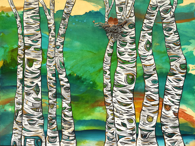 'Kindred Birch' 30x40 acrylic on wood with metal nest (wire and hammered copper) by April Lacheur. $1950. Available