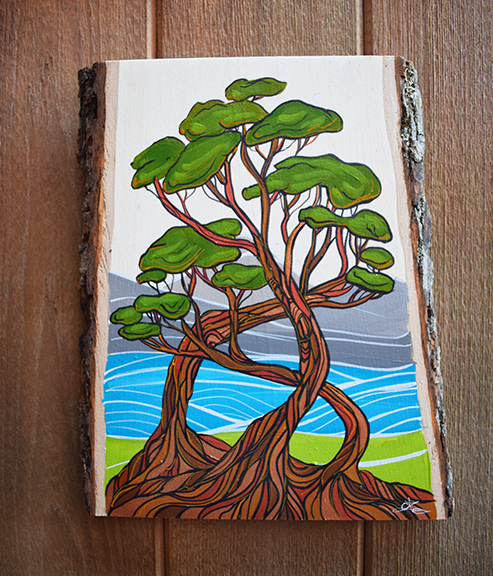 'Arbutus Tangle' 9x13 acrylic on live edge wood. SOLD