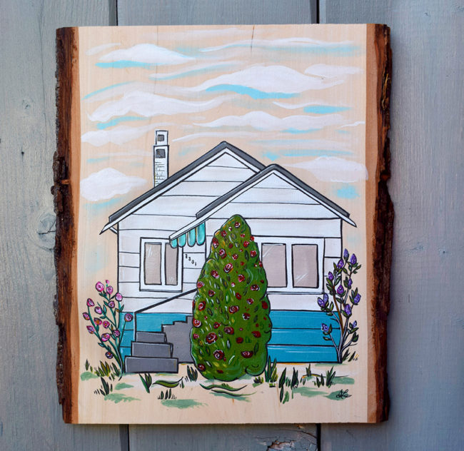 'Fond Memoried' 8x11 acrylic on live edge wood by April Lacheur. SOLD