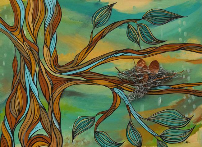 'Home Free' 22x30 acyrlic on wood with metal nest (hammered copper eggs) by April Lacheur. $1300