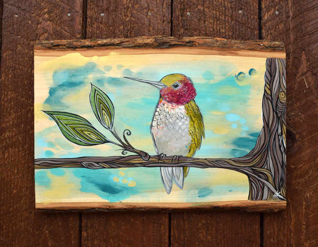 'Hummingbird Perch' 11x16 acrylic on live edge wood. SOLD