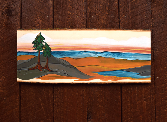 Oceanside serenity 8x23 acrylic on live edge wood by April Lacheur SOLD