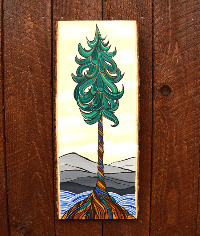 Proud Evergreen 8x23 acrylic on live edge wood by April Lacheur. SOLD