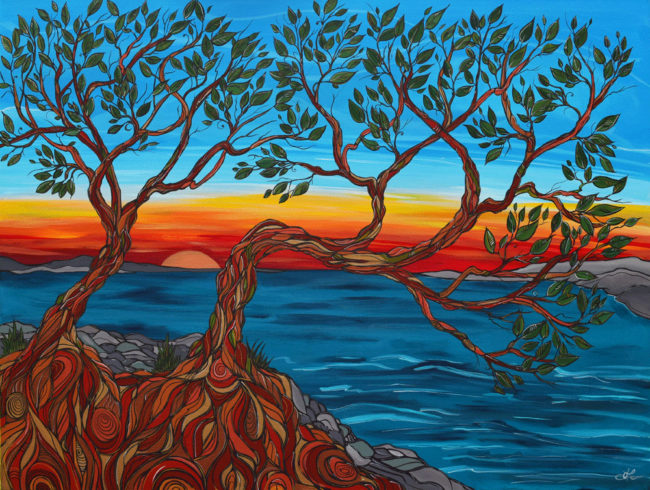 'West Coast Sunset' original acrylic painting by April Lacheur 36x48