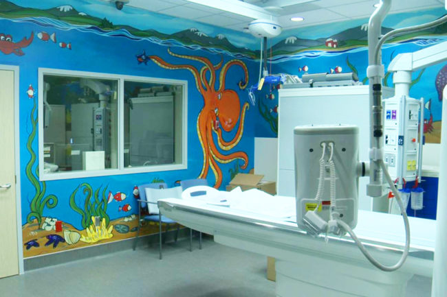 Mural commissioned by the BC Children's Hospital for the CT Scanner room. Mural wraps around the whole room. 2017