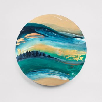 """Nature Escape 3 - 8"""" Acrylic on Round Wood - SOLD (similar available - contact April)"""