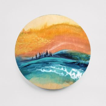 "Nature Escape 5 - 8"" Acrylic on Round Wood - SOLD (similar available - contact April)"