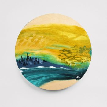 "Nature Escape 6 - 8"" Acrylic on Round Wood - SOLD (similar available - contact April)"