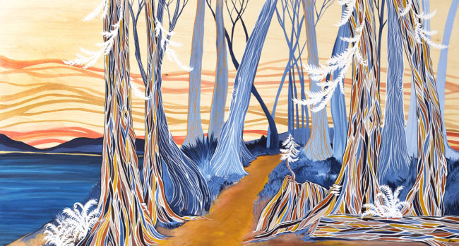 Follow your path. SOLD. 24x48 acrylic on wood panel by April Lacheur